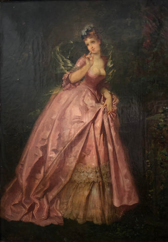 A.C. Voillemot - 'Girl in the Pink Dress' - Oil on Panel (14