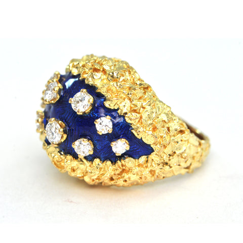 0.66 ct Diamond and blue enamel vintage 18k ring Circa 1980 - daisy exclusive - Montreal Jewellers