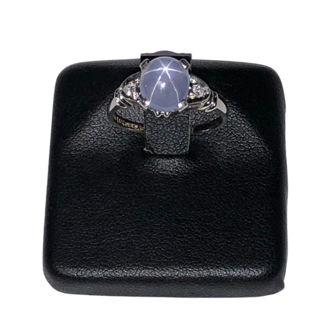 Vintage Birks 2.4ct Star Sapphire and Diamond 14k White Gold, Platinum Ring C.1960 + Montreal Estate Jewelers
