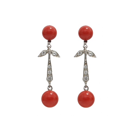 Diamond and Coral 18K White Gold Drop Earrings + Montreal Estate Jewelers