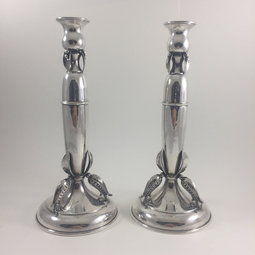 Poul Petersen Pea pod Candlesticks pair C. 1950, Montreal Estate Jewellers