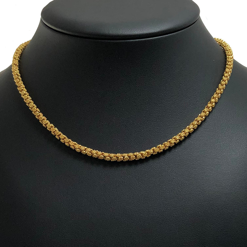 Vintage Birks 22K Yellow Gold Floral Link 'Olive Blossom' Necklace + Montreal Estate Jewelers