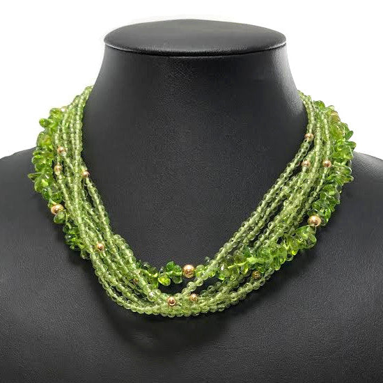 Multi-Strand Peridot and 14K Yellow Gold Bead Necklace + Montreal Estate Jewelers