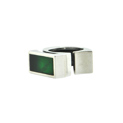 Walter Schluep Resin and Sterling Silver '5' Ring (Attributed) + Montreal Estate Jewelers