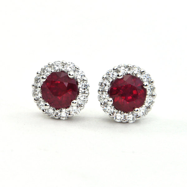 2.11 ct Burmese Ruby and 0.72 ct Diamond Stud earrings - montreal jeweller - Daisy Exclusive