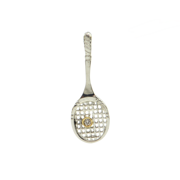 Daisy Exclusive Sterling Silver and Gemstone Tennis Racket Pendant + Montreal Estate Jewelers