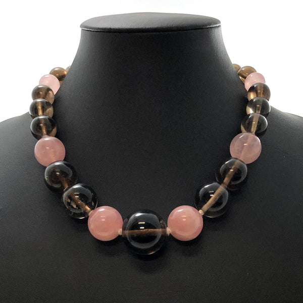 Vintage Smokey Quartz & Rose Quartz Bead Necklace C. 1940-1950 + Montreal Estate Jewelers