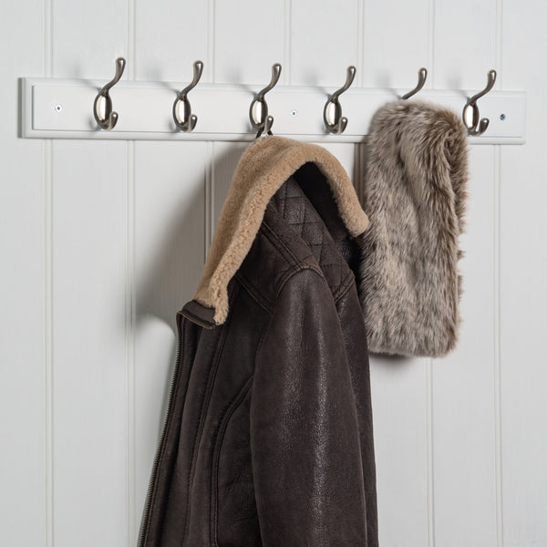 Searsport 6 Hook Coat Rack - Nickel On Paris White™
