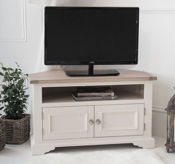 Faversham Corner TV Cabinet In Old White