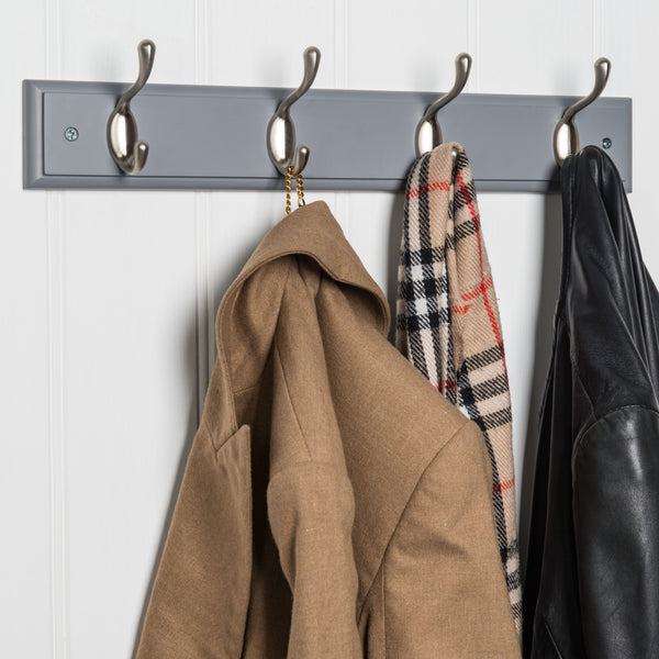 Searsport 4 Hook Coat Rack - Nickel On Dove Grey™