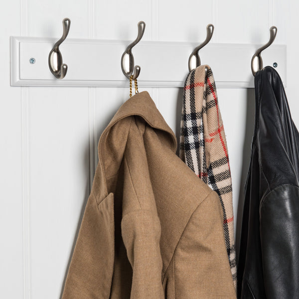 Searsport 4 Hook Coat Rack - Nickel On Paris White™