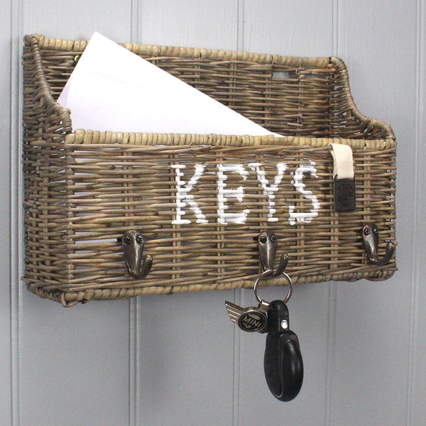 Key Largo Rattan Key Rack & Letter Tray