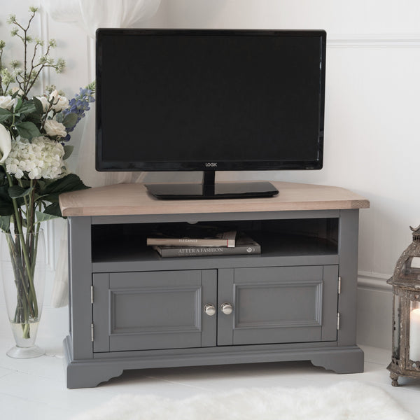 Faversham Corner TV Cabinet In Dove Grey