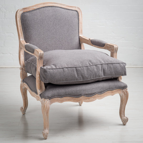 Luberon Armchair In Limed Oak With Grey