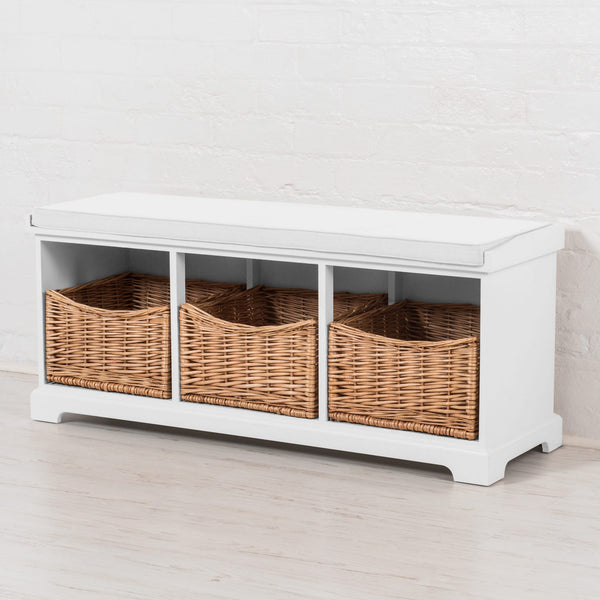 Newport Storage Bench In Paris White