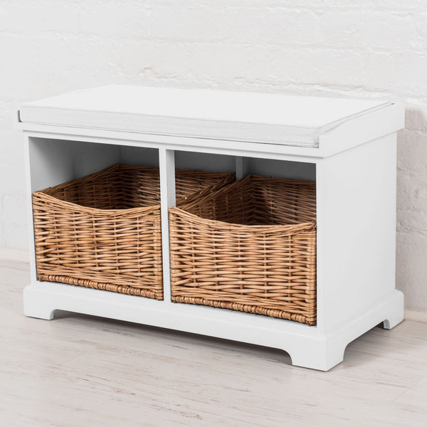 Newport 2 Basket Storage Bench In Paris White