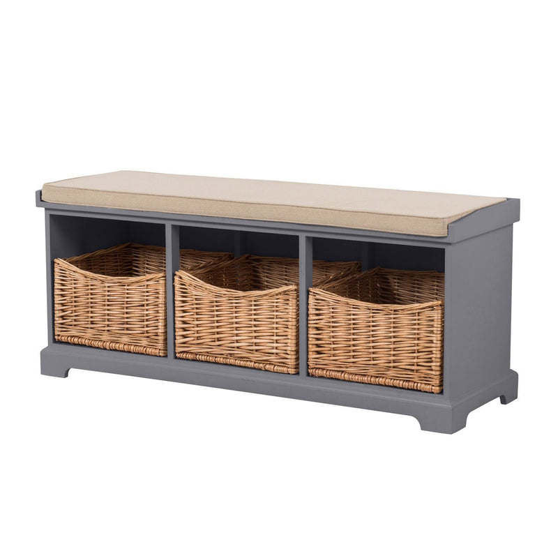 Newport Hallway Storage Bench In Dove Grey