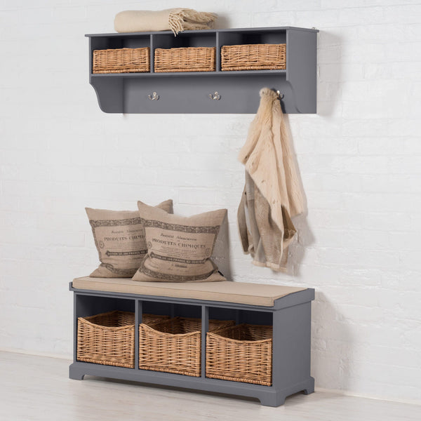 Newport Storage Bench In Dove Grey
