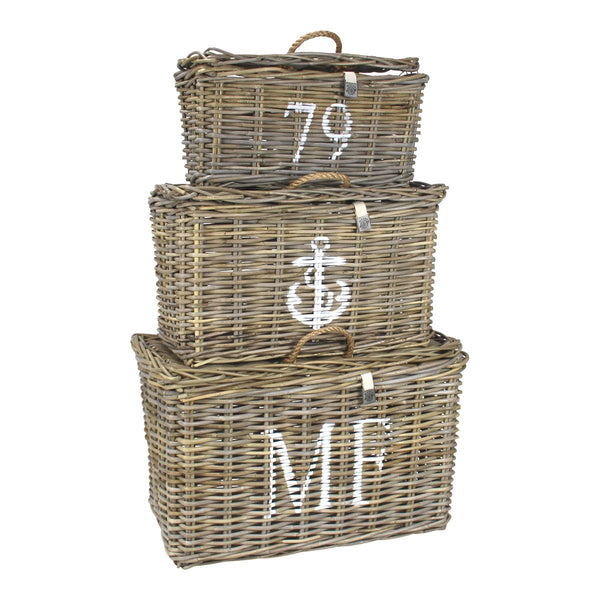 Key Largo Kubu Rattan Set Of 3 Trunks