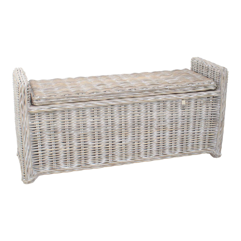 Key Largo Whitewashed Rattan Hallway Storage Bench