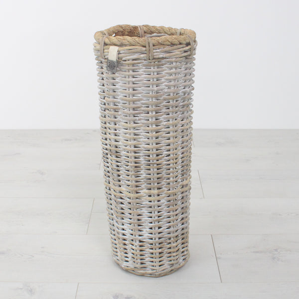 Key Largo Whitewashed Rattan Umbrella Basket
