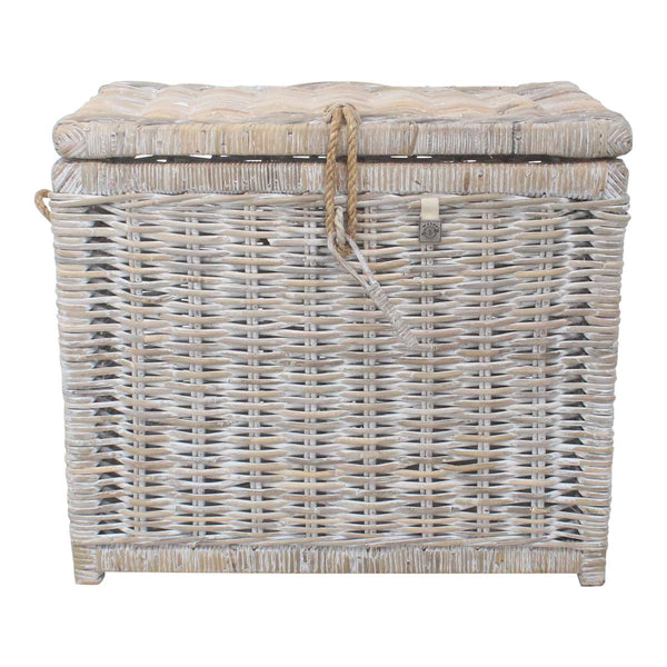 Key Largo Whitewashed Kubu Rattan Storage Trunk