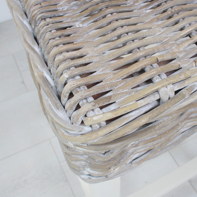 Key Largo Whitewashed Kubu Rattan Bar Stool