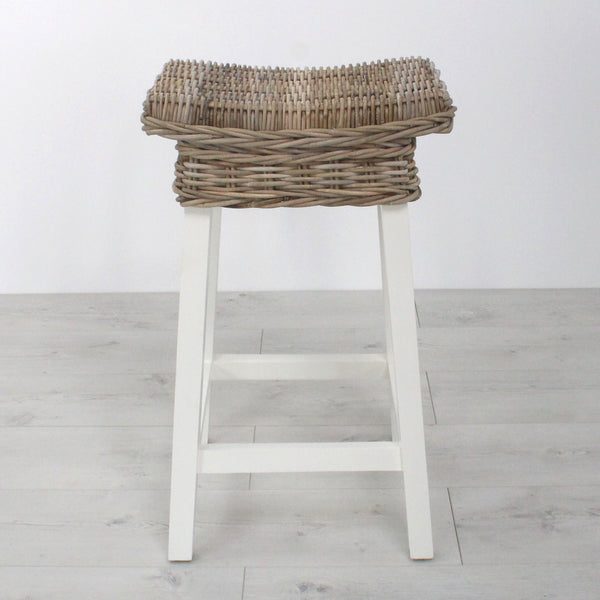 Key Largo Backless Whitewashed Rattan Bar Stool