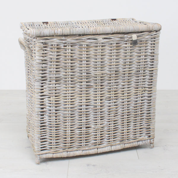 Key Largo Whitewashed Kubu Rattan Laundry Seperator Basket