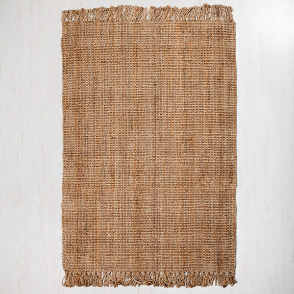 Georgetown Chunky Jute Boucle Natural Rug With Tassels - Medium