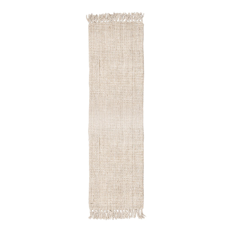 Georgetown Chunky Jute Boucle Natural Runner With Tassels In White - 70 x 240