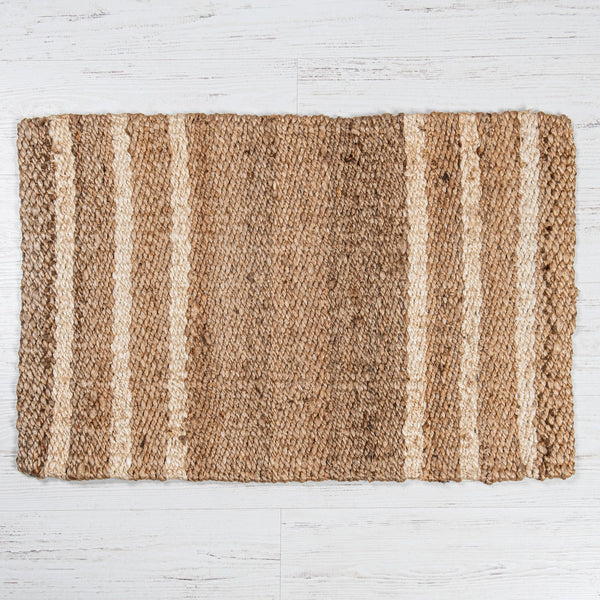 Grafton Jute Boucle Doormat Rug White Stripe