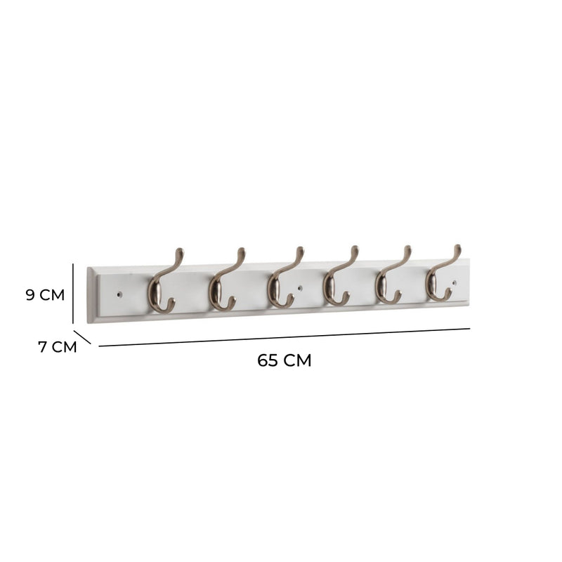 Searsport 6 Hook Coat Rack - Nickel On Paris White
