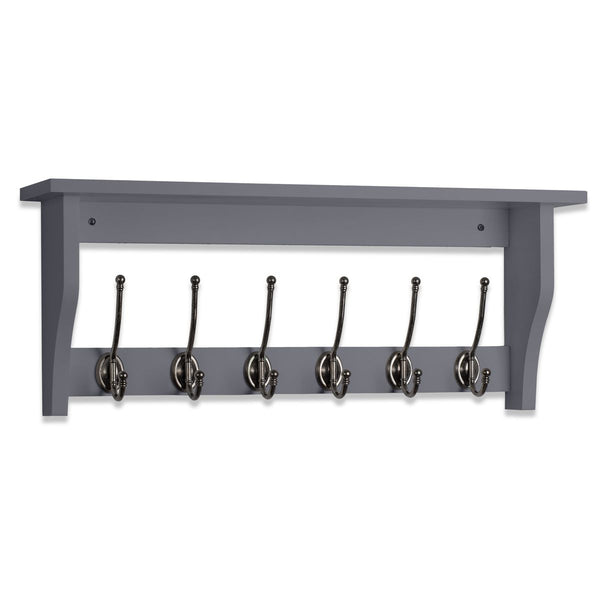 Lewiston Coat Hook Shelf In Dove Grey