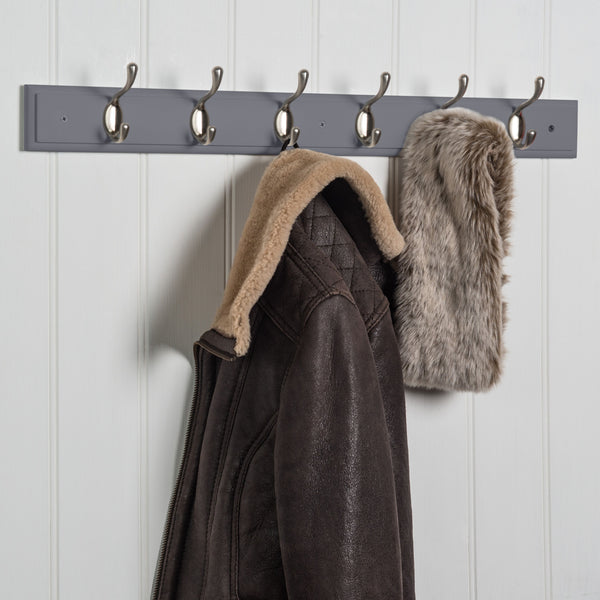Searsport 6 Hook Coat Rack - Nickel On Dove Grey™