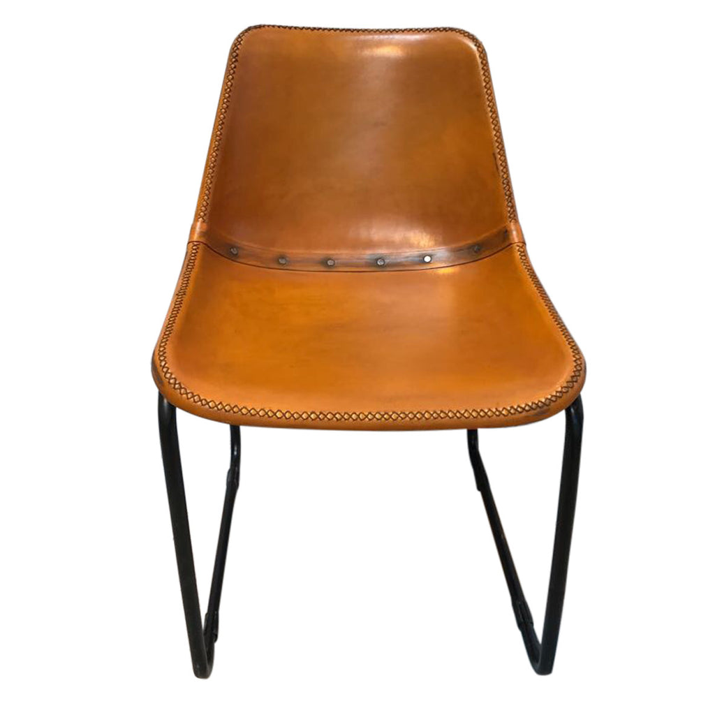 Vintage Distressed Leather Bucket Chair