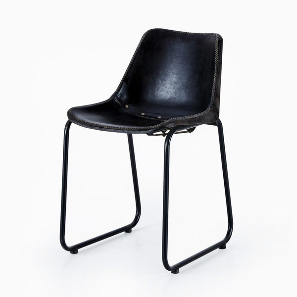 Vintage Black Leather Bucket Chair