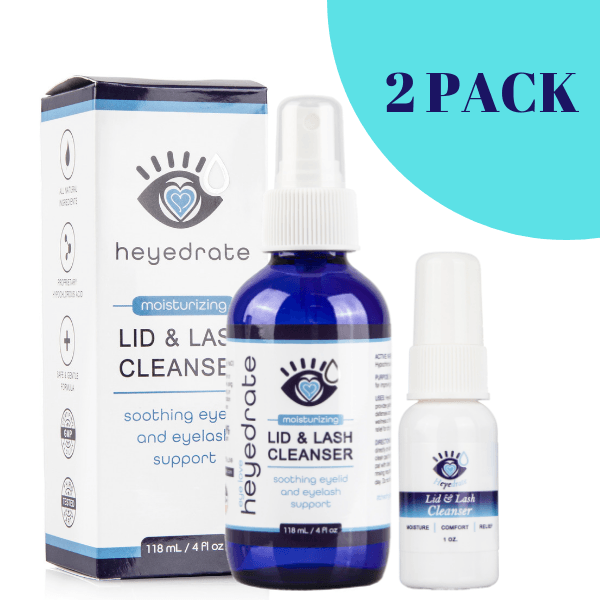 Heyedrate® Lid and Lash Cleanser Savings Bundle (1oz and 4oz) | Eye Love® Dry Eye Supplement Heyedrate