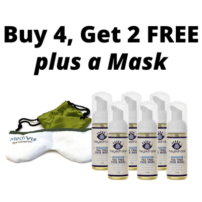 Buy 4, get 2 FREE Heyedrate Tea Tree Face Wash, plus bonus MediViz Dry Eye Face Mask Dry Eye Supplement Eye Love