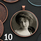 10 Pack Photo Jewelry Copper Pendant 1 1/2 Inch W/ Glass