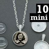 "10 Pack Mini Silver Circle Glass Photo Jewelry Pendants 16mm w/ 18"" Chains Supply Pack - Photo Jewelry Making"