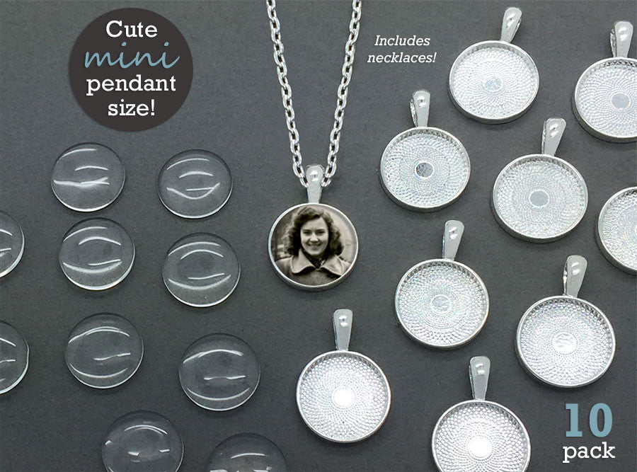 "10 Pack Mini Silver Circle Glass Photo Jewelry Pendants 16mm w/ 18"" Chains Supply Pack"