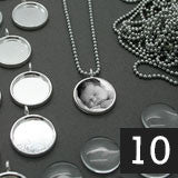 10 16mm Glass Photo Pendants & Mini Ball Chain Necklaces Supply Pack