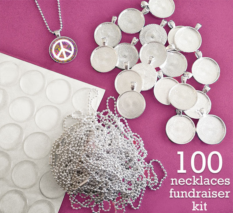 100 Necklaces Fundraiser Kit W/ Ball Chains And Epoxy Covers 25mm