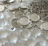 20 Pack 38mm Round Glass Photo Pendants w/ 20 Silver Ball Chains
