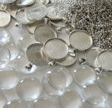 20 Pack Round Glass Photo Pendants w/ 20 Silver Ball Chains - Photo Jewelry Making