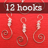 Diamond Pack of 12 Swirled Beaded Christmas Ornament Hooks
