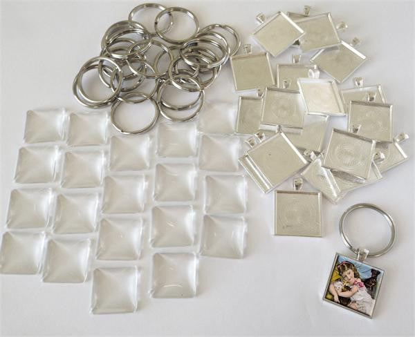 Square 1 1/4 Inch Photo Keychain Supplies Pack Makes 20 - Photo Jewelry Making