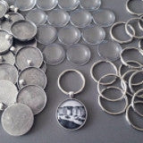 20 Antique Silver Photo Jewelry Key Chain Supplies Pack