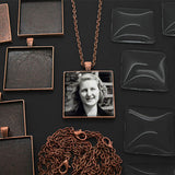 Makes 10 Copper Square Photo Jewelry Pendants 1 1/4 inch Kit